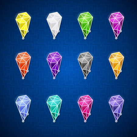 shortcuts: set of pointers in the form of a crystal, geometric polygon icon, colorful set of polygonal shortcuts Illustration