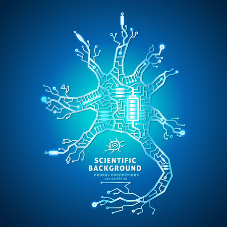 Neuron as an electrical circuit on a blue background, brain cell of the wires, battery powered Vector