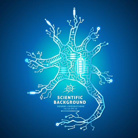 neurona: Neurona como un circuito el�ctrico en un fondo azul, las c�lulas cerebrales de los cables, alimentado por bater�a