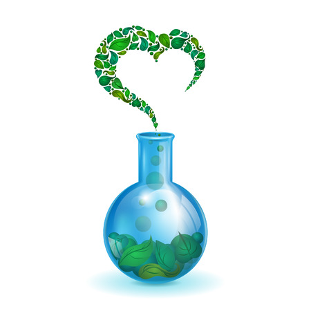 bulb with leaves, ecological background with a pattern in the form of heart, love of nature, chemical realistic bulb on white background