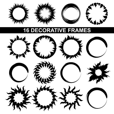 set of black and white decorative frames Vector