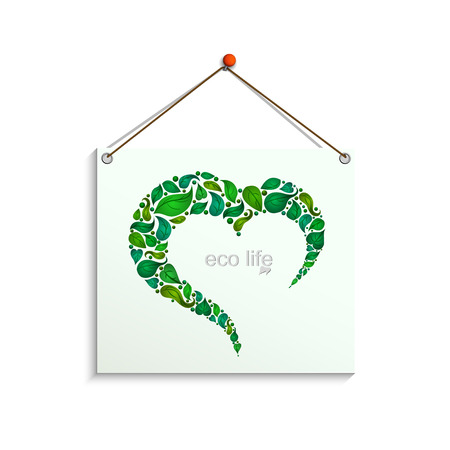 realistic paper plate on a white background with a heart made of leaves, ecological background