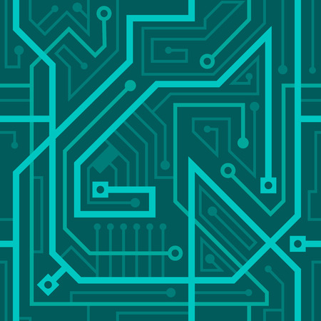 seamless, motherboard, the jumble of wires blue background Illustration