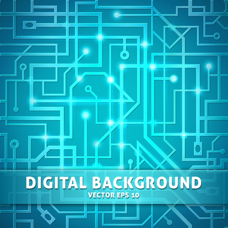 Digital background, interlacing wire on a blue background, shining electronic wallpaper