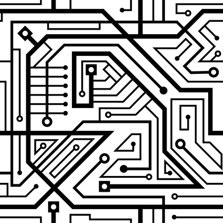 seamless pattern motherboard interlacing wires black and white