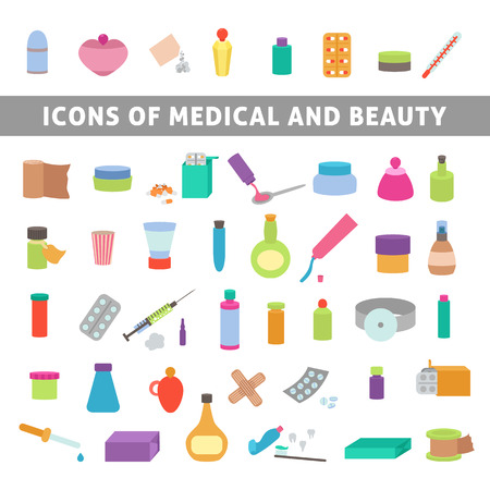 cough syrup: flat icons for medicine and beauty, set medication and cosmetics