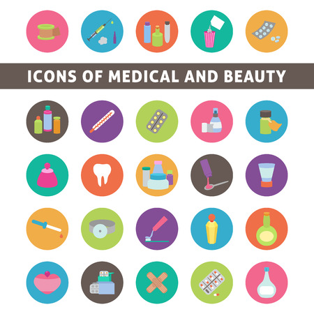 peroxide: flat icons for medicine and beauty, set medication and cosmetics