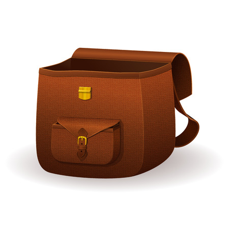 Realistic leather satchel, school bag with texture, brown snakeskin backpack on a white background Vector