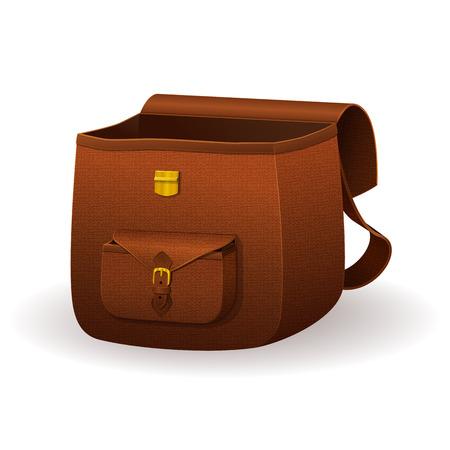 Sacoche de cuir réaliste, sac d'école avec la texture, brun sac à dos en peau de serpent sur un fond blanc