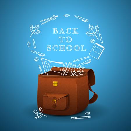 utiles escolares: Malet�n de la escuela con una textura realista de la piel sobre un fondo azul, iconos blancos de �tiles escolares Vectores