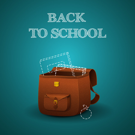 School briefcase with realistic skin texture and books on blue background