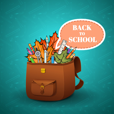 School briefcase with a realistic skin texture and hand-drawn school supplies on a blue background, school background