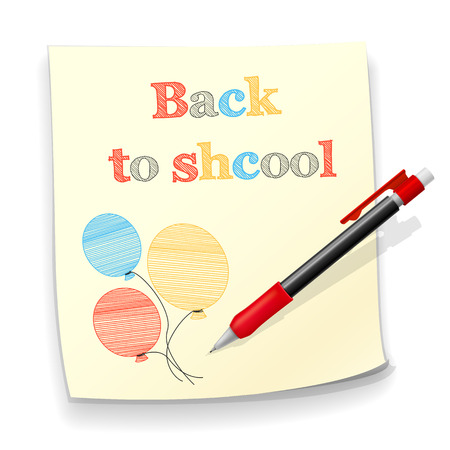 background back to school, a piece of paper with a pencil sketch and a mechanical pencil Vector