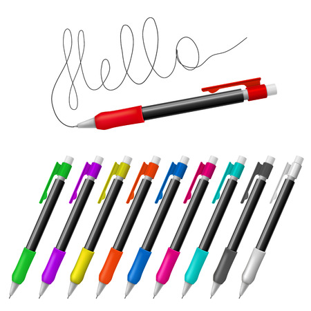 Set realistic vector multicolored mechanical pencils on a white background Vector