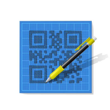 drawndrawn pencil sketch QR-code with a realistic mechanical pencil on blue graph paper pencil sketch QR-code with a realistic mechanical pencil on blue graph paper Illustration
