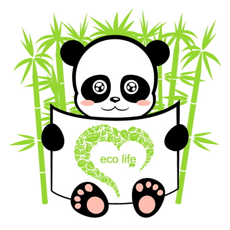 panda in the bamboo forest, ecological background on animal protection, cute panda with a piece of paper Vector