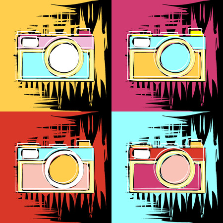 painting in the style of Andy Warhol, four squares with a sketch of an old camera