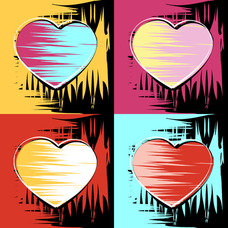 Painting in the style of Andy Warhol, four squares with a sketch of the heart Illustration