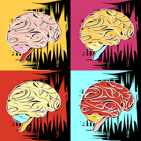 Painting in the style of Andy Warhol, four squares with a sketch of the human brain