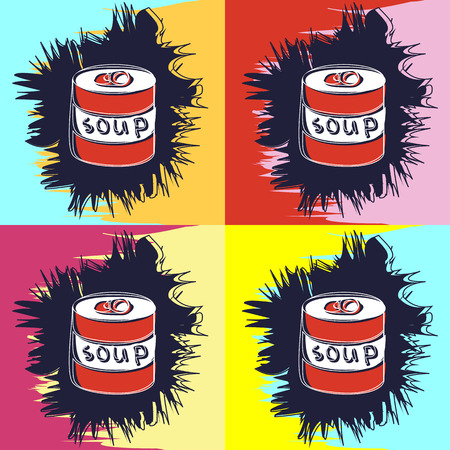Painting in the style of Andy Warhol, four squares with a sketch of soup cans