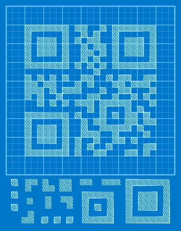 vector QR-code it and blue background, the designer to create your own binary code Illustration