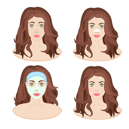zit: girl with a mask on her face, facial, remedy for blackheads, beautiful skin Illustration