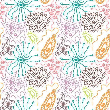unicellular: Seamless pattern with bacteria and viruses in a cartoon style
