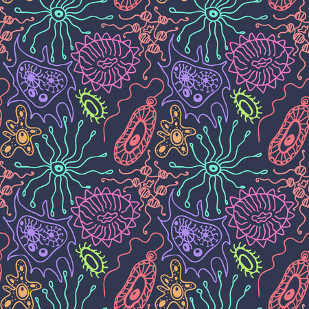 Seamless pattern with bacteria and viruses in a cartoon style