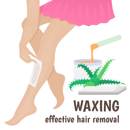 young woman legs up: waxing, wax woman anoints his feet for hair removal Illustration