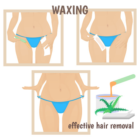 young woman legs up: female torso, woman in blue shorts rubs wax hair removal bikini area, Pictures stages Illustration
