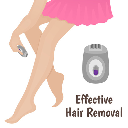 body care: epilation, hair removal on the legs, a woman shaves her legs on a white background