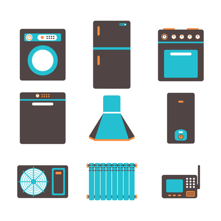 major household appliance: household appliances icons, set of kitchen equipment on a white background