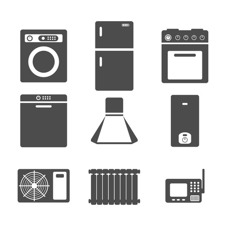 air conditioning: household appliances icons, set of kitchen equipment on a white background