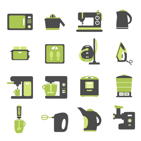 set of flat icons with home appliances Vector