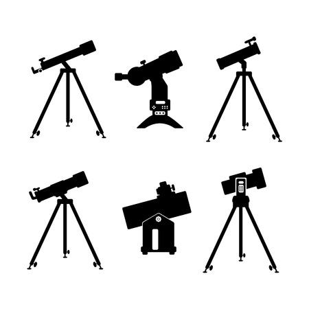 telescope icon set of black icons on white background Illustration