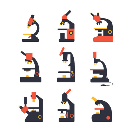 microscope icon set of flat science icons on white background Vector