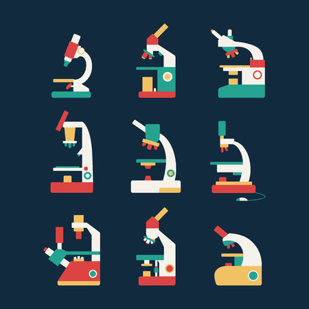 microscope icon set flat scientific icons on a dark background Vector