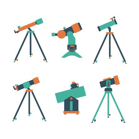 telescope: telescope icon set of flat icons on a white background