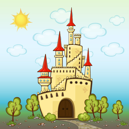 Castle in cartoon style with sharp roofs and towers, childrens background with a fabulous palace, road and trees Illustration