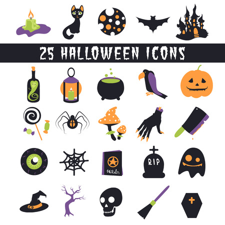 Halloween Icons set flat icons for Halloween with horror stories