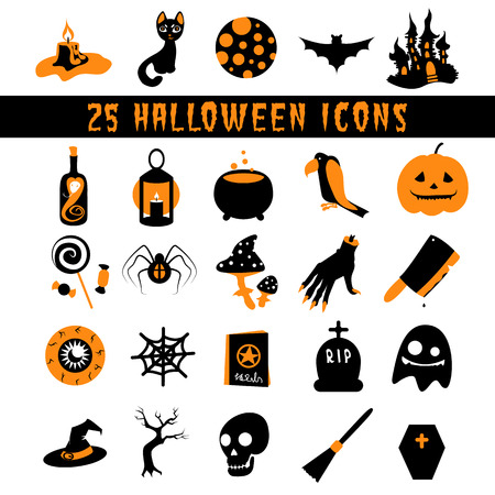 Halloween Icons set flat icons for Halloween with horror stories Vector