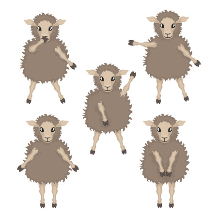 indicates: sheep in various poses, sheep with their hands up, lamb indicates a hand toward a white background