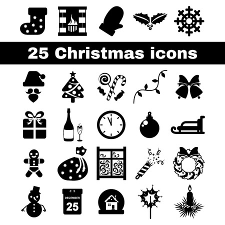 set in black and white flat icons for the new year Vector