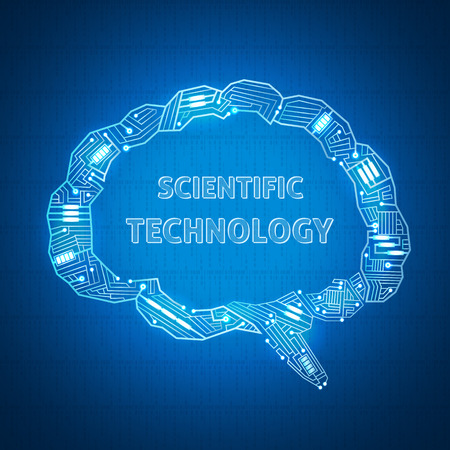 background with a text bubble in the form of wires on the motherboard, scientific wallpaper, outlines their brain electronic wire Vector