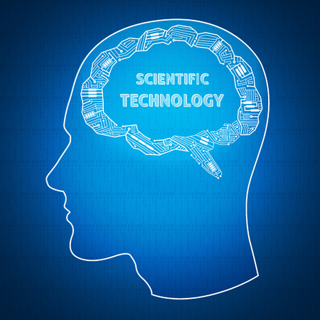 scientific background with contour male profile, the brain of the wires, a text bubble Vector