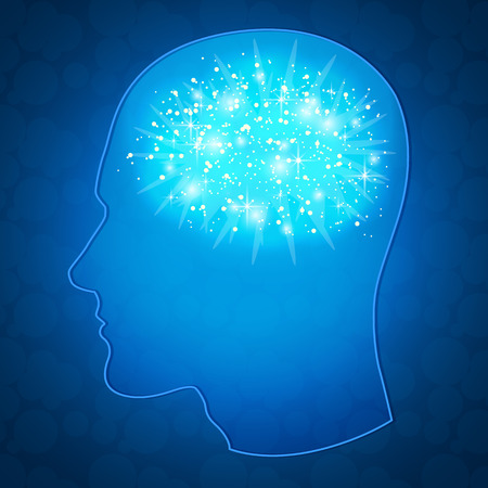 silhouette of the head in profile with the glowing brain, esoteric background, space and astral