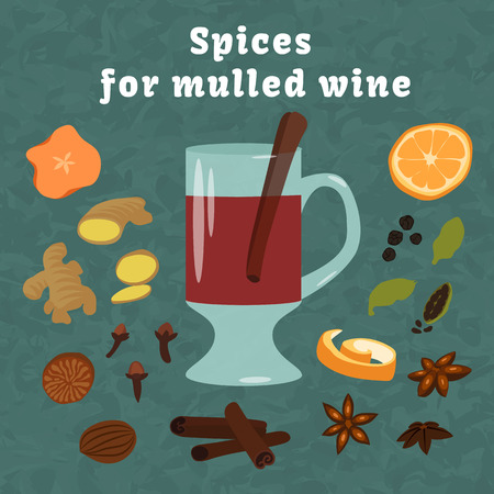 spices and ingredients to cook mulled wine Illustration