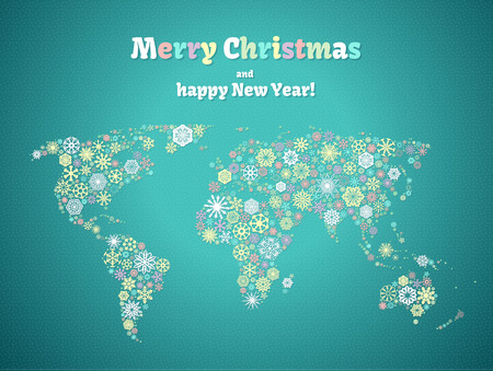 Christmas background, snowflakes world map for the new year, greeting cards Çizim