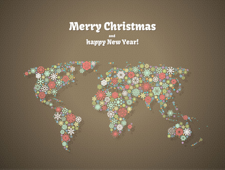 Christmas background, snowflakes world map for the new year, greeting cards Vector