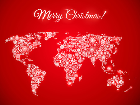 snowflakes world map for the new year, greeting card on red background Vector